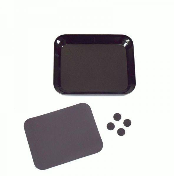 Aluschale mit Magnetplatte schwarz