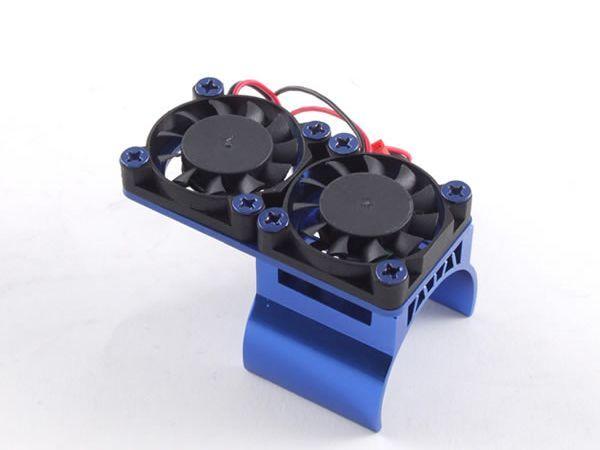 36mm blue Aluminium Twin Fan Motor Heatsink Unit