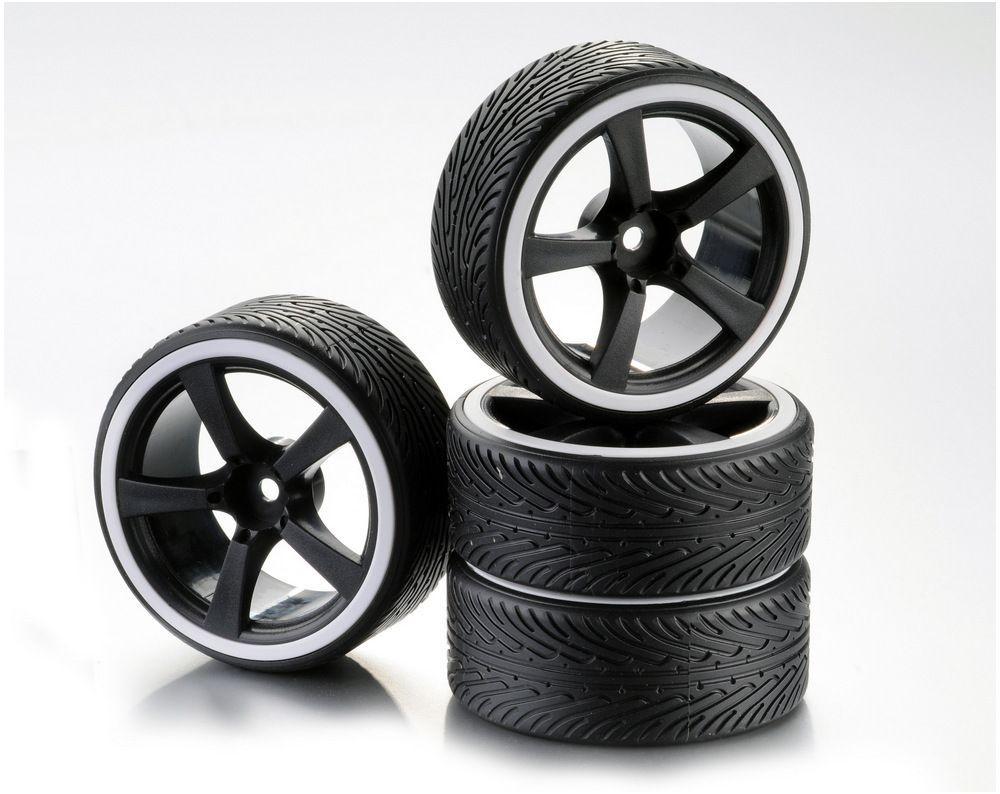 Train de roues Drift 5-Rayon Profile B Jante noir/Bague blanc 1:10 (4)