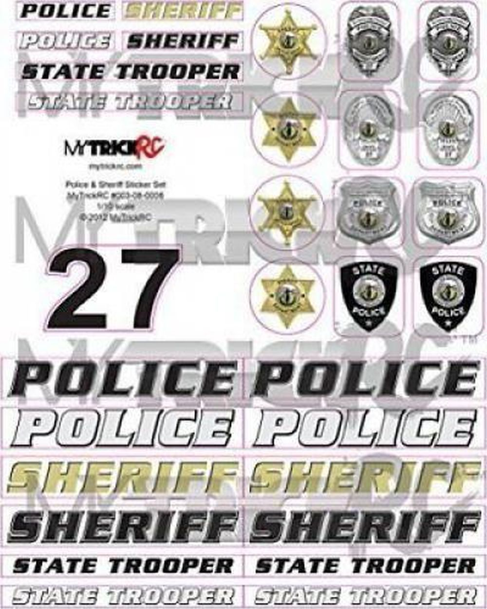 1:10 RC Police / Sheriff Dekorbogen