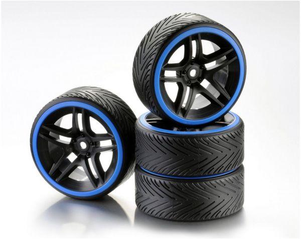 Train de roues Drift 10-Rayon Profile A Jante noir/Bague bleu 1:10 (4)