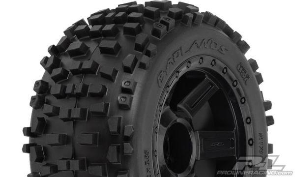 Badlands 3.8'' Tires Mounted Desperado Black 1/2 Offset 17mm Wheels (2)