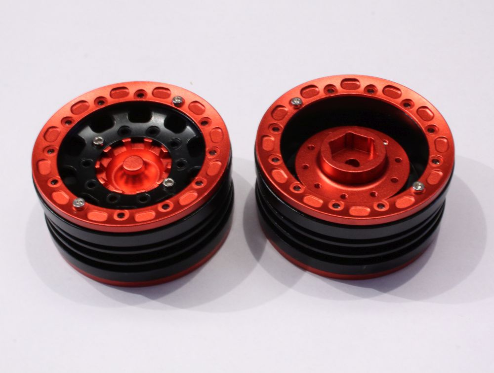 hobbyx 1 9 crawler beadlock felgen schwarz rot hx44201k. Black Bedroom Furniture Sets. Home Design Ideas