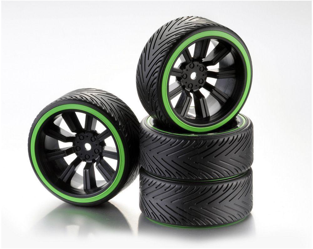 Train de roues Drift 9-Rayon Profile A Jante noir/Bague néon vert 1:10 (4)