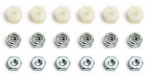 4-40 Mutternsatz (6x Stop, 6x Plastik-Stop und 6x reguläre Mutter)